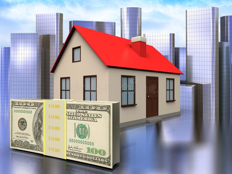 3d money over city. 3d illustration of house with money over city background royalty free illustration
