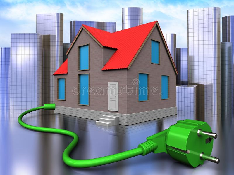 3d power cord over city. 3d illustration of house with power cord over city background vector illustration