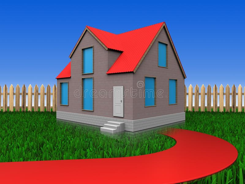 3d red road over lawn and fence royalty free illustration