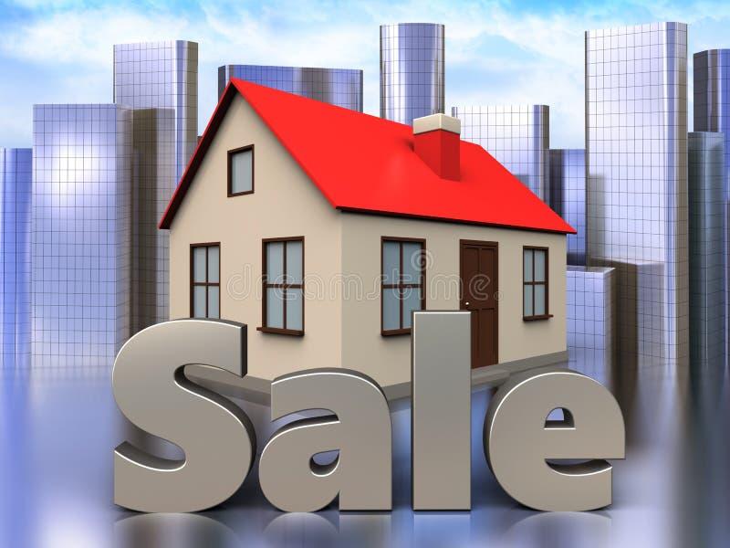 3d sale sign over city. 3d illustration of house with sale sign over city background stock illustration