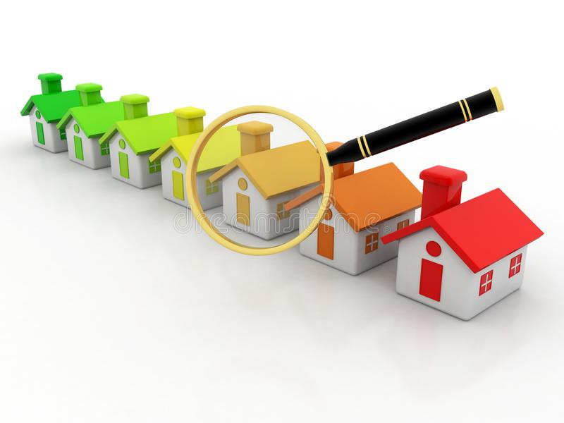 3d illustration of houses and magnify glass over white background. Real Estate Concept vector illustration