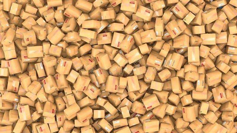 Hundreds of cardboard parcels lying on a heap. 3d illustration of hundreds of cardboard boxes lying on a heap vector illustration