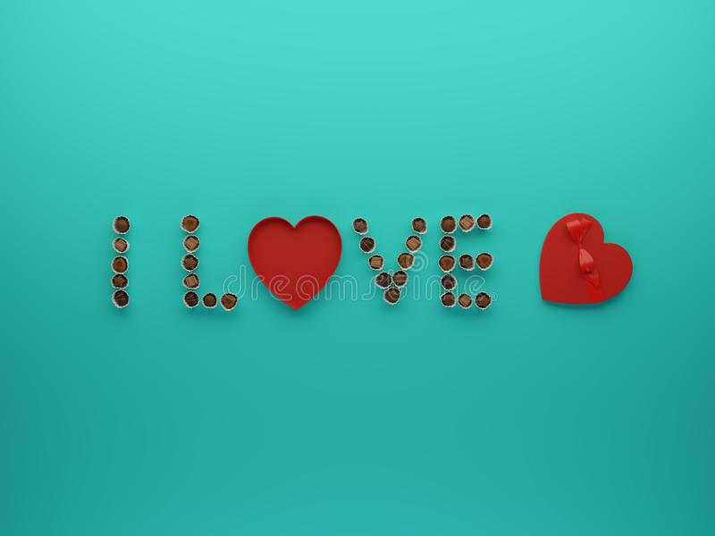 3d illustration of I love U text with chocolates candy flatlay concept. royalty free illustration