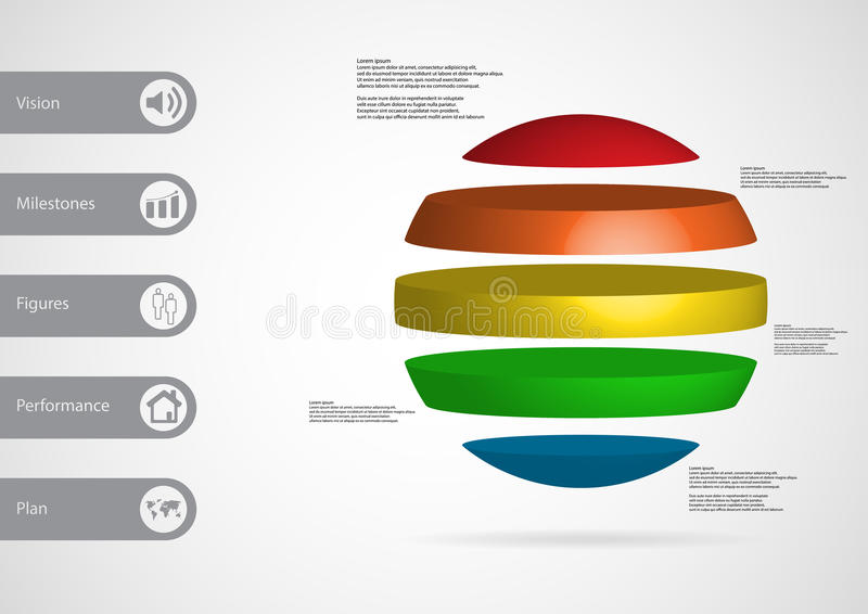 3D illustration infographic template with ball horizontally divided to five standalone color parts royalty free illustration