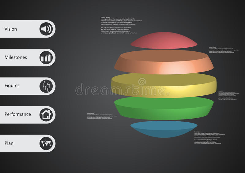 3D illustration infographic template with ball horizontally divided to five standalone color parts vector illustration