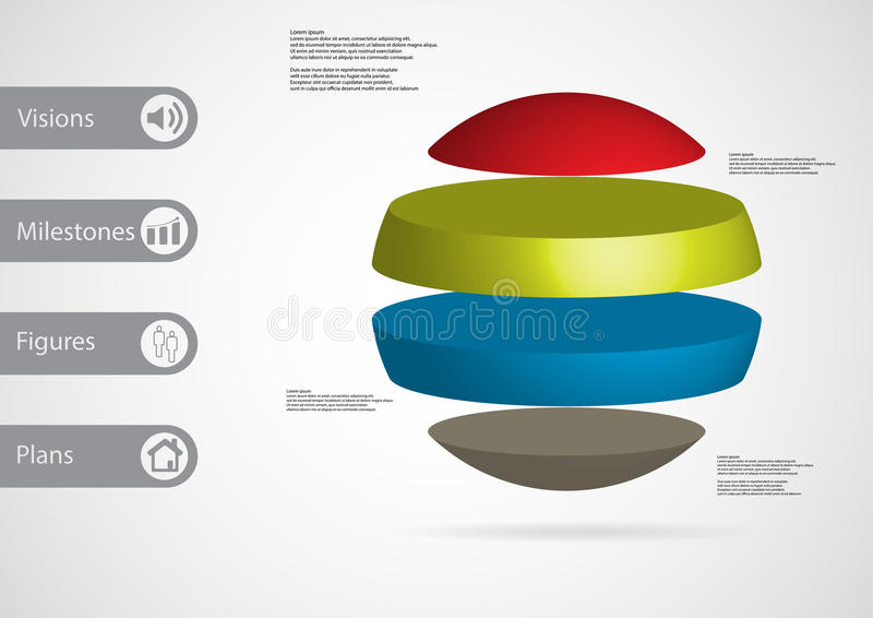 3D illustration infographic template with ball horizontally divided to four standalone color parts vector illustration