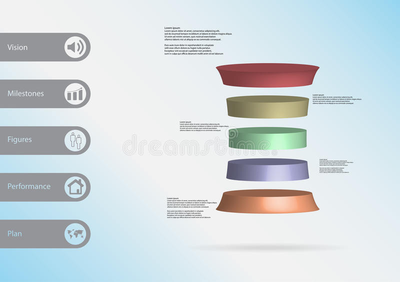 3D illustration infographic template with deformed cylinder horizontally divided to five color slices vector illustration