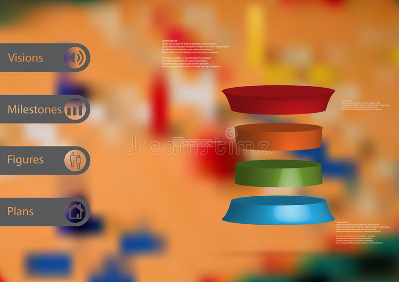 3D illustration infographic template with deformed cylinder horizontally divided to four color slices royalty free illustration