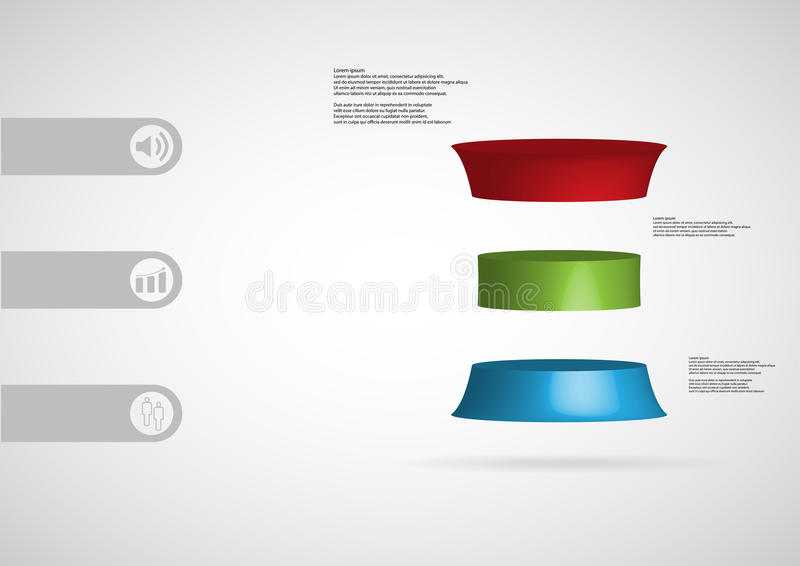 3D illustration infographic template with deformed cylinder horizontally divided to three color slices royalty free illustration