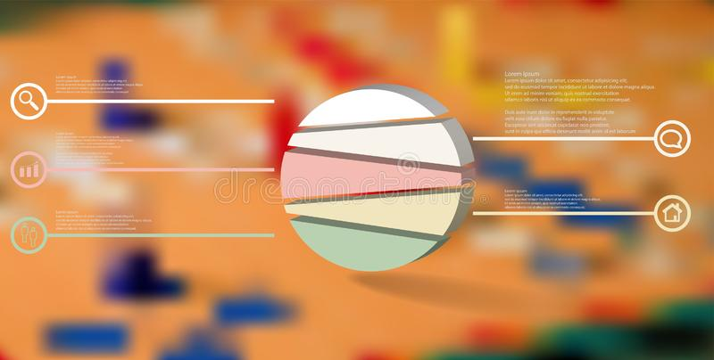 3D illustration infographic template with embossed circle randomly divided to five parts royalty free illustration