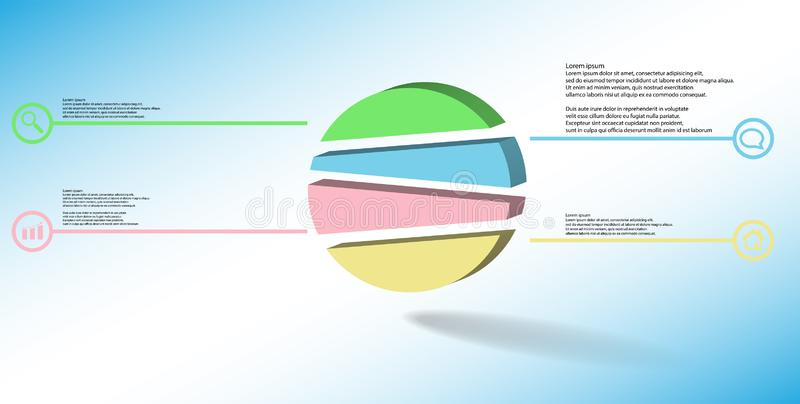 3D illustration infographic template with embossed circle randomly divided to four parts vector illustration