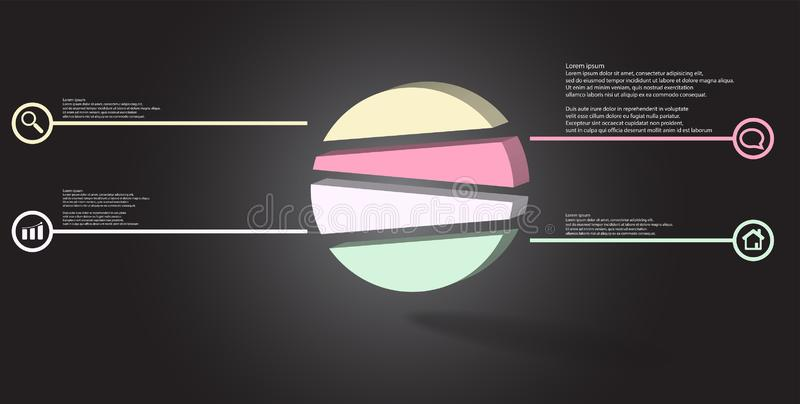 3D illustration infographic template with embossed circle randomly divided to four parts stock illustration