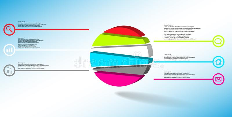 3D illustration infographic template with embossed circle randomly divided to six parts royalty free illustration