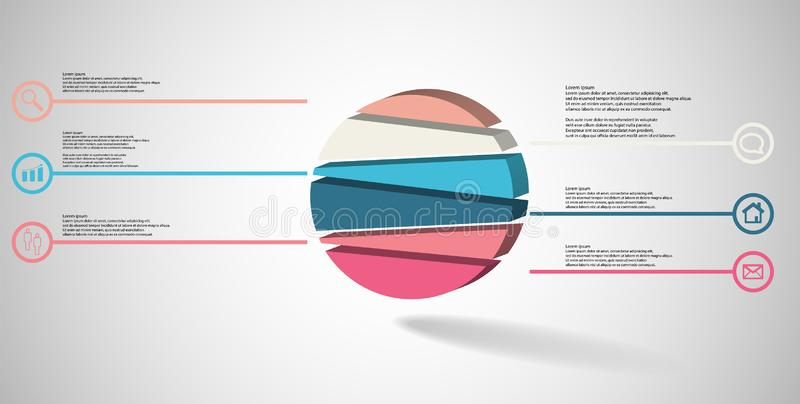 3D illustration infographic template with embossed circle randomly divided to six parts stock illustration