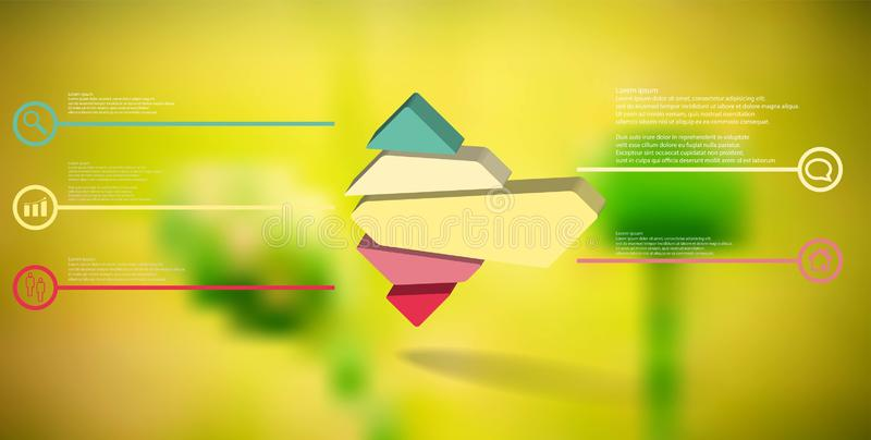 3D illustration infographic template with embossed rhomb randomly divided to five parts. 3D illustration infographic template. The embossed rhomb is randomly vector illustration