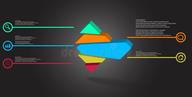 3D illustration infographic template with embossed rhomb randomly divided to five parts. 3D illustration infographic template. The embossed rhomb is randomly royalty free illustration