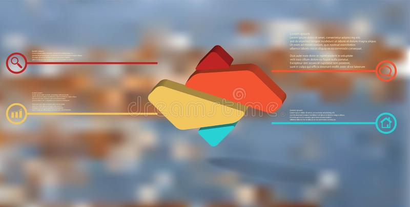 3D illustration infographic template with embossed rhomb randomly divided to four parts. 3D illustration infographic template. The embossed rhomb is randomly vector illustration