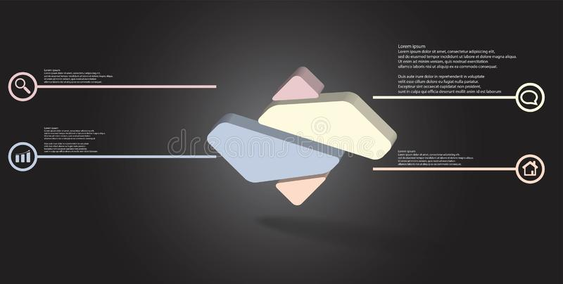 3D illustration infographic template with embossed rhomb randomly divided to four parts vector illustration