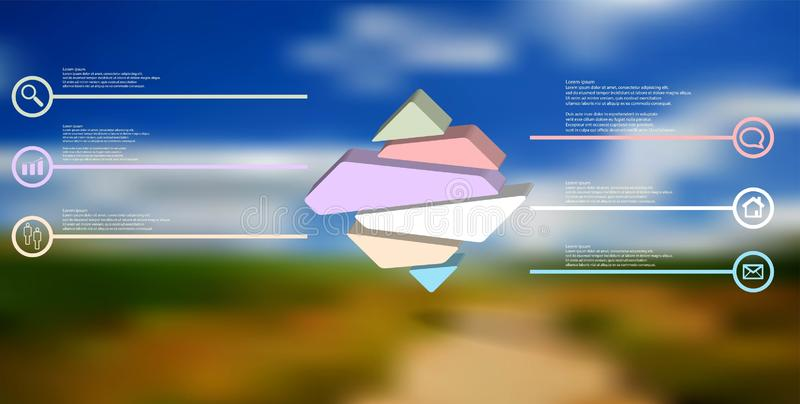 3D illustration infographic template with embossed rhomb randomly divided to six parts. 3D illustration infographic template. The embossed rhomb is randomly royalty free illustration