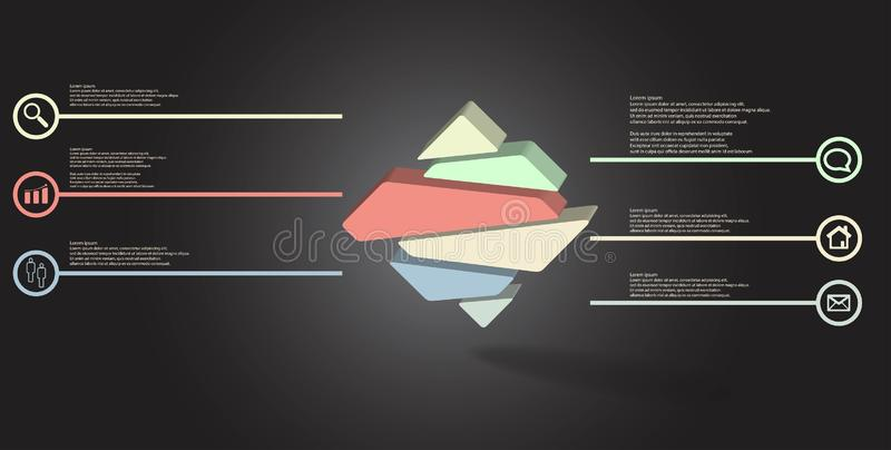 3D illustration infographic template with embossed rhomb randomly divided to six parts stock illustration