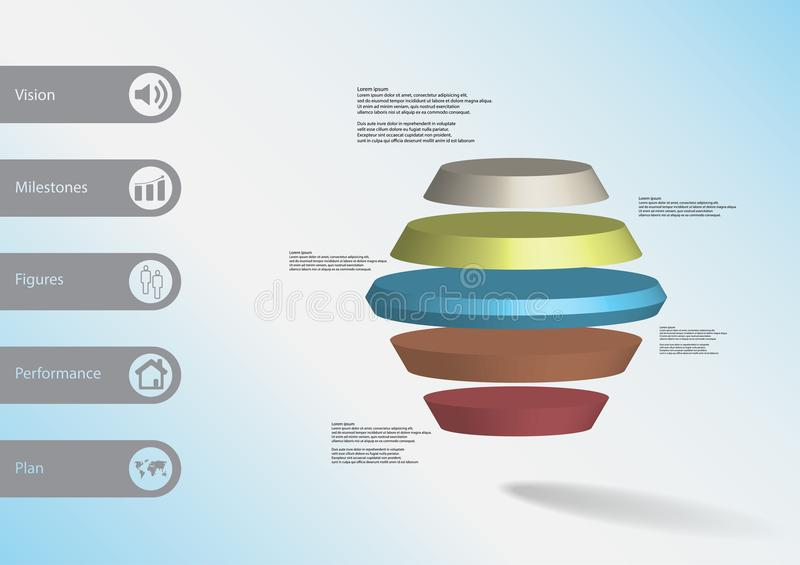 3D illustration infographic template with round hexagon horizontally divided to five color slices royalty free illustration
