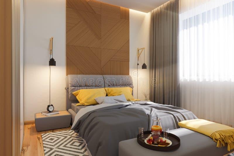 3d Illustration, Innenarchitekturkonzept des Schlafzimmers Sichtbarmachung des Innenraums im skandinavischen Baustil stock abbildung