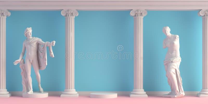 3d-illustration d'int?rieur avec les statues antiques Apollo et Doryphoros photographie stock
