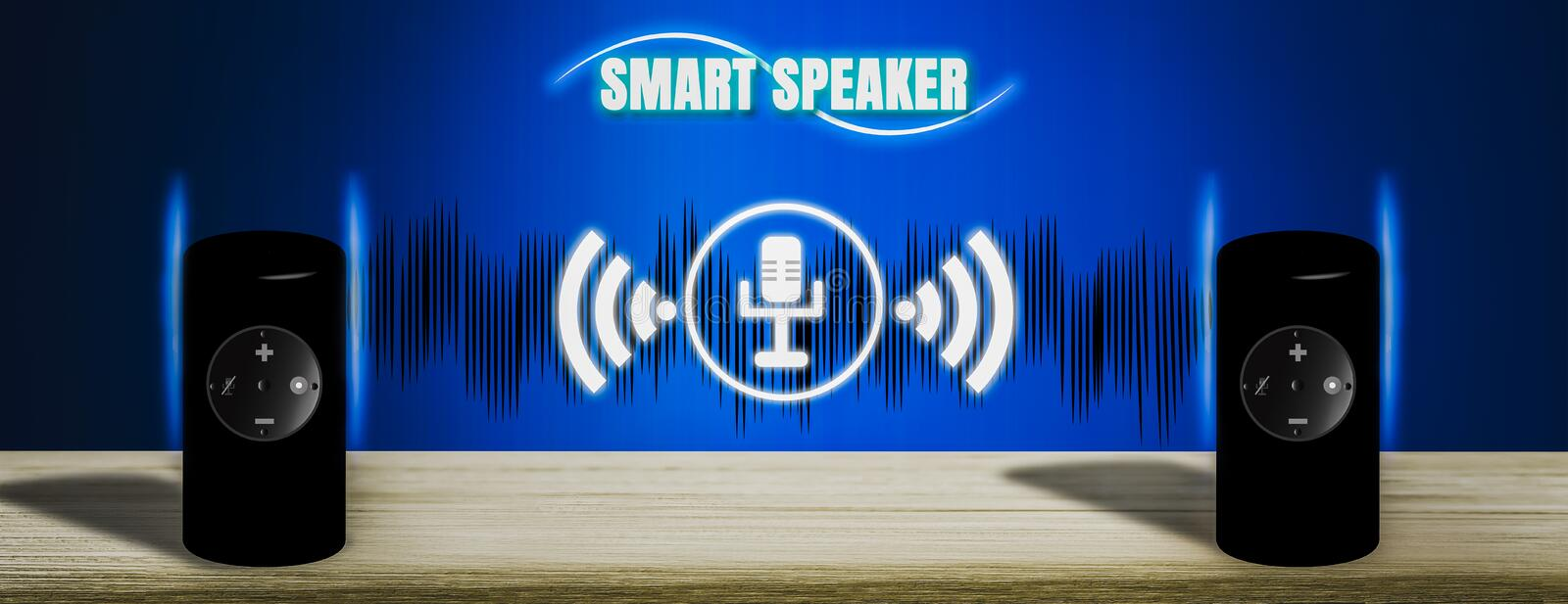 3D illustration Intelligent Speaker of Future,recording, learning,memorizing and commanding owner,Artificial Intelligence. AI and wireless network connectivity royalty free stock images
