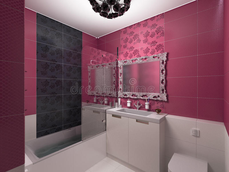 3D illustration of interior design of a pink bathroom. 3D render of interior design of a pink bathroom stock illustration