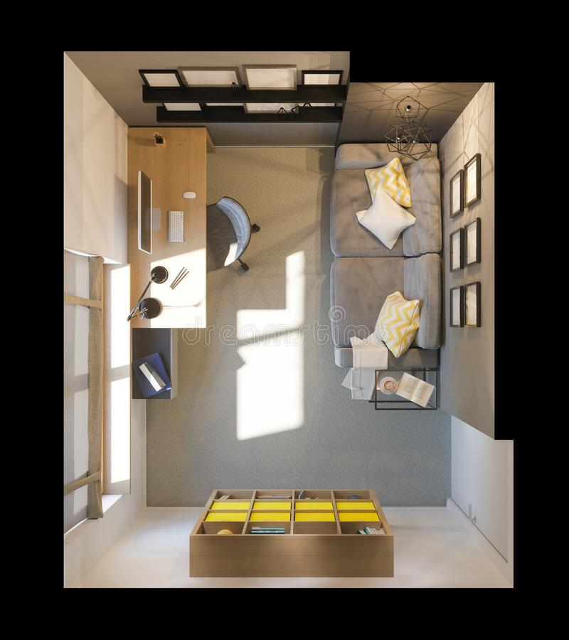 3d illustration of interior design plan for home office. Render in top view vector illustration
