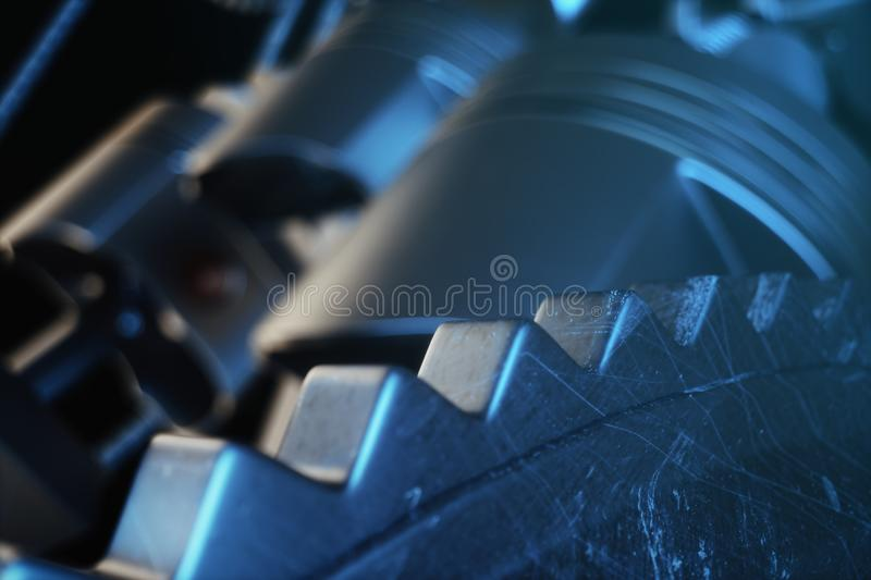 3d illustration of an internal combustion engine. Engine parts, crankshaft, pistons, fuel supply system. V6 engine. Pistons with crankshaft in motion royalty free illustration