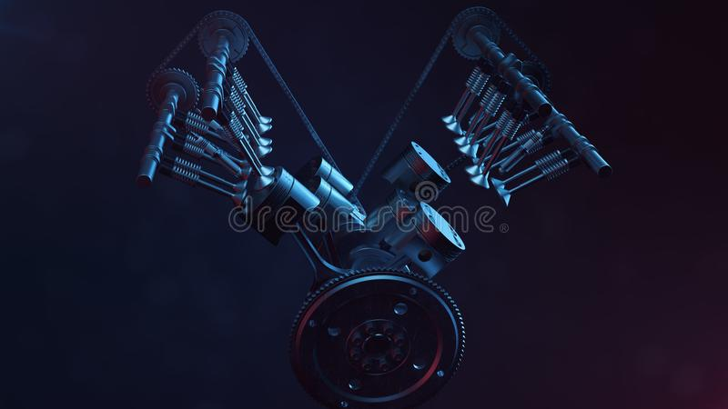 3d illustration of an internal combustion engine. Engine parts, crankshaft, pistons, fuel supply system. V6 engine. Pistons with crankshaft on a black stock illustration