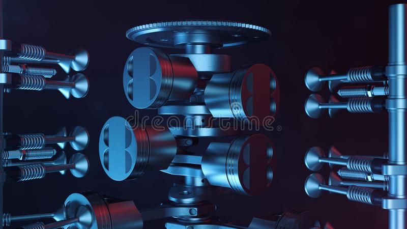 3d illustration of an internal combustion engine. Engine parts, crankshaft, pistons, fuel supply system. V6 engine. Pistons with crankshaft on a black royalty free illustration