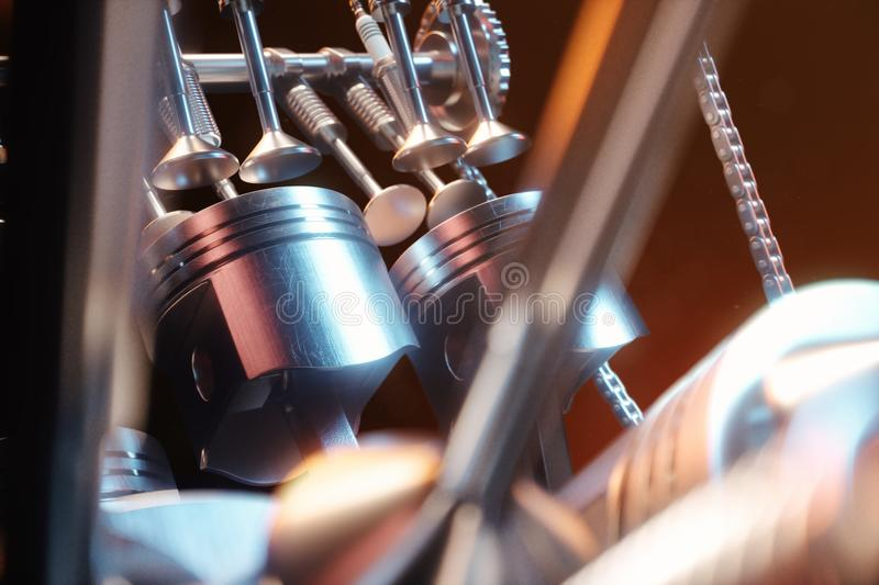 3d illustration of an internal combustion engine. Engine parts, crankshaft, pistons, fuel supply system. V6 engine. Pistons with crankshaft on a black vector illustration