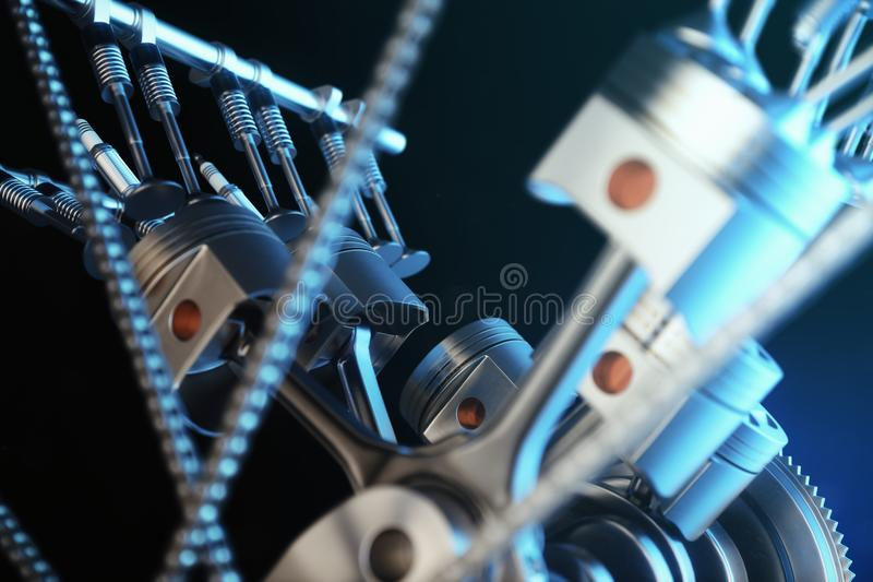 3d illustration of an internal combustion engine. Engine parts, crankshaft, pistons, fuel supply system. V6 engine. Pistons with crankshaft in motion vector illustration