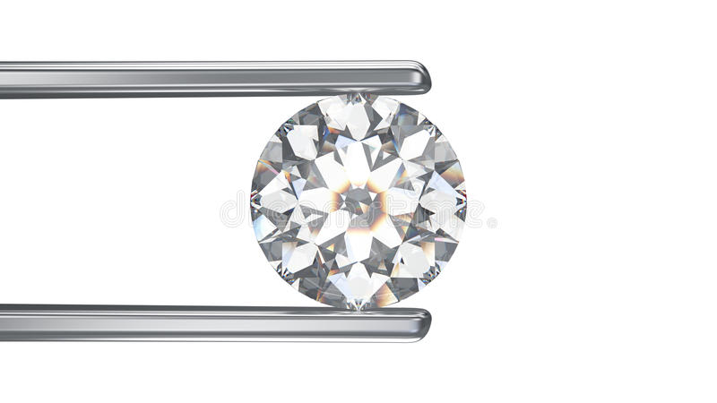 3D illustration isolated diamond in tweezers on a white background vector illustration