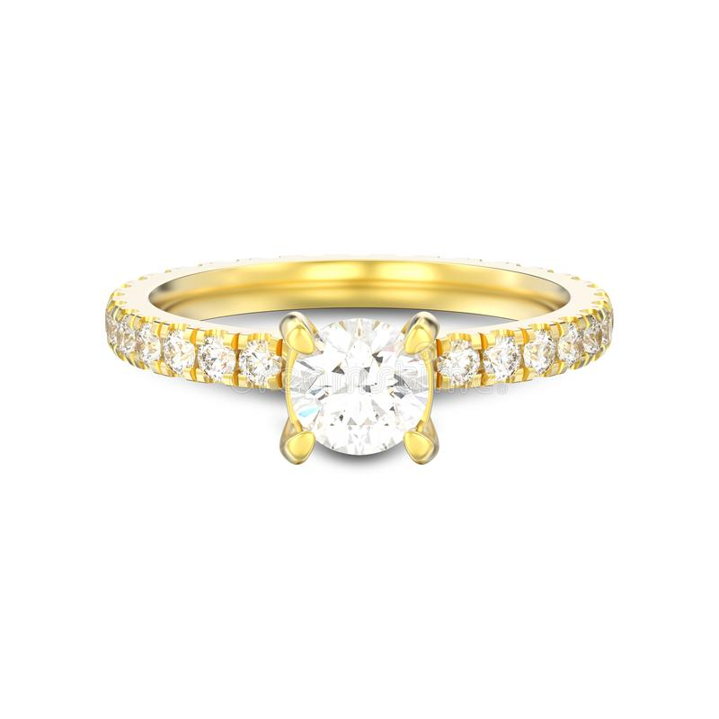 3D illustration isolated gold diamond engagement wedding ring wi stock illustration