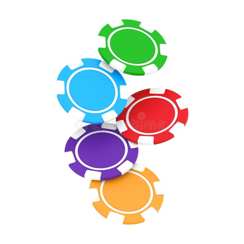 3D illustration isolated group of different colors casino chips. On a white background stock illustration
