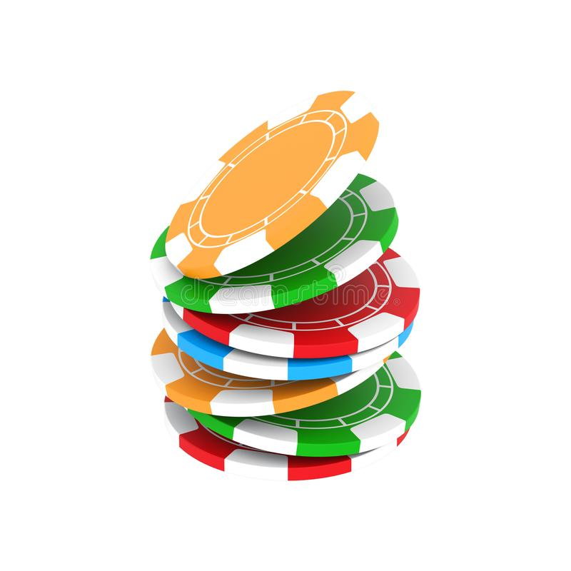 3D illustration isolated group of different colors casino chips. On a white background vector illustration