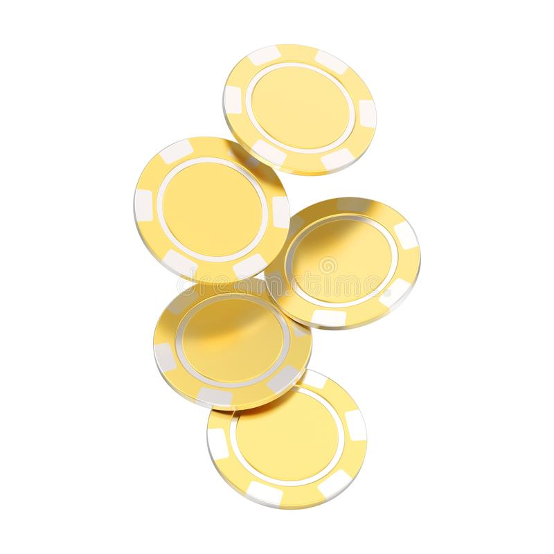 3D illustration isolated group of gold casino chips. On a white background vector illustration