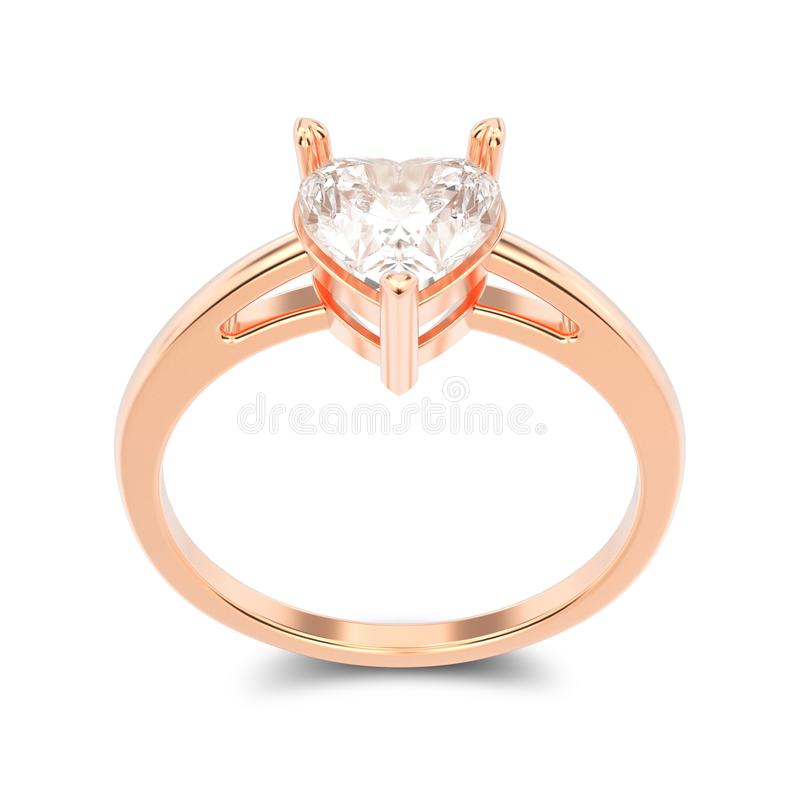3D illustration isolated rose gold engagement ring with diamond royalty free illustration