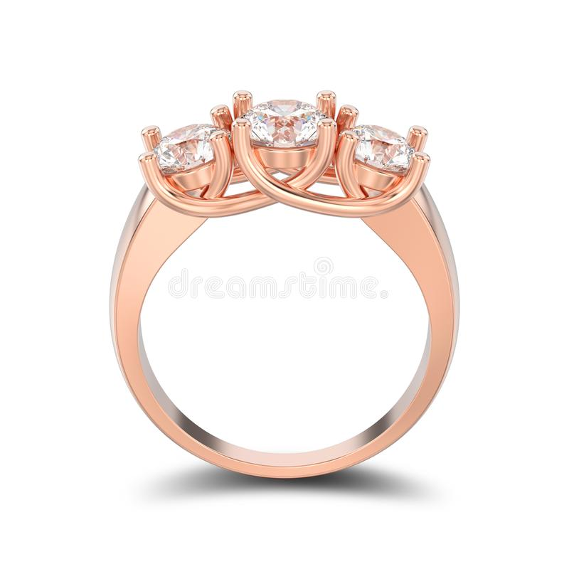 3D illustration isolated rose gold three stone diamond ring with royalty free illustration