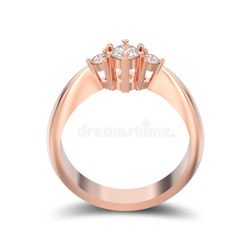 3D illustration isolated rose gold three stone diamond ring with vector illustration