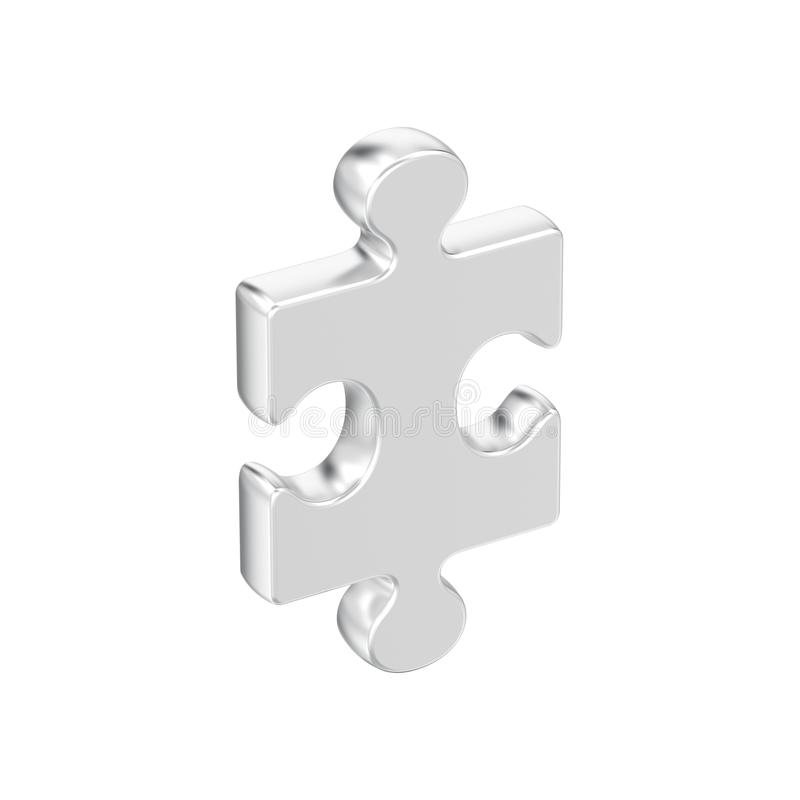 3D illustration isolated silver puzzle royalty free illustration