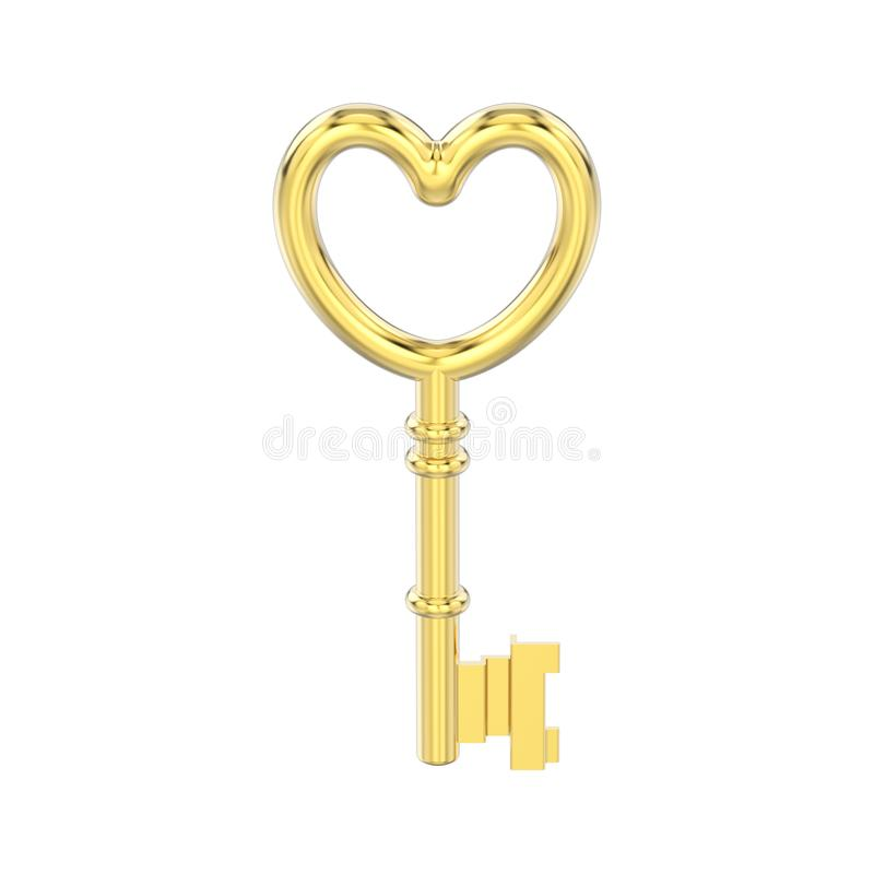3D illustration isolated yellow gold decorative key in the form vector illustration