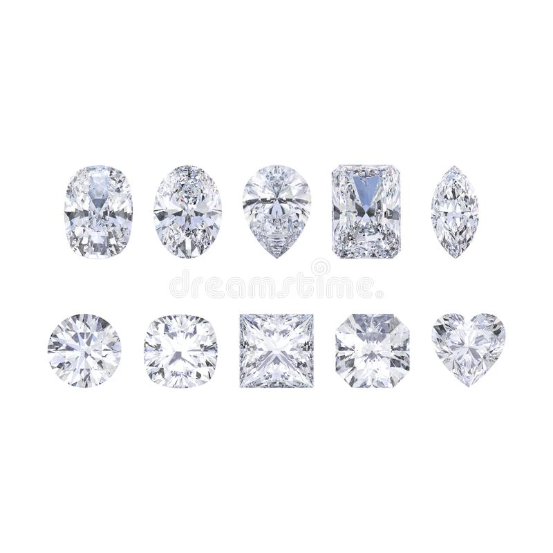 3D illustration isolates ten different white gemstones diamonds vector illustration
