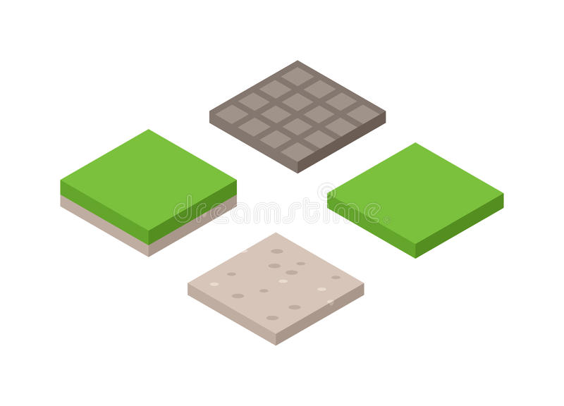 3d illustration of isometric land cross section of ground with grass isolated vector. stock illustration
