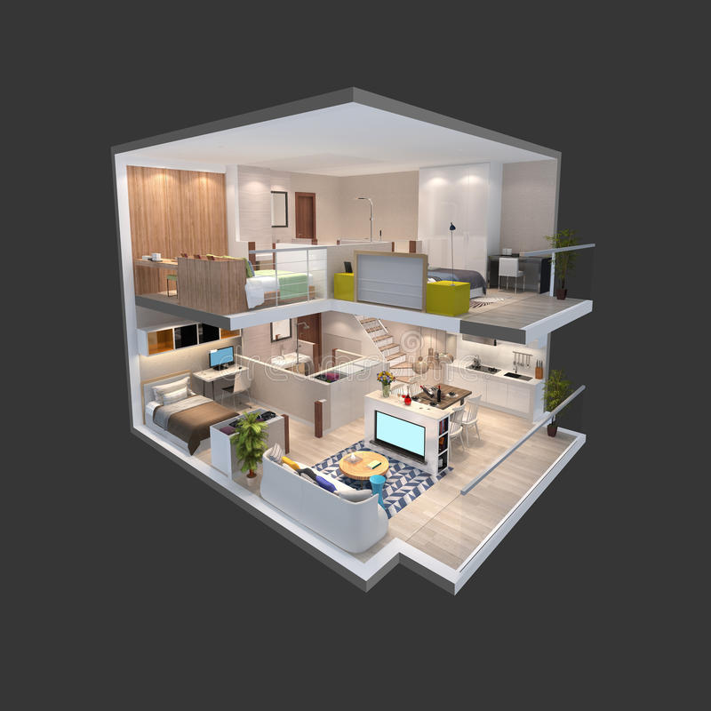 3d illustration of isometric view of a penthouse. 3d illustration of penthouse isometric plan stock illustration