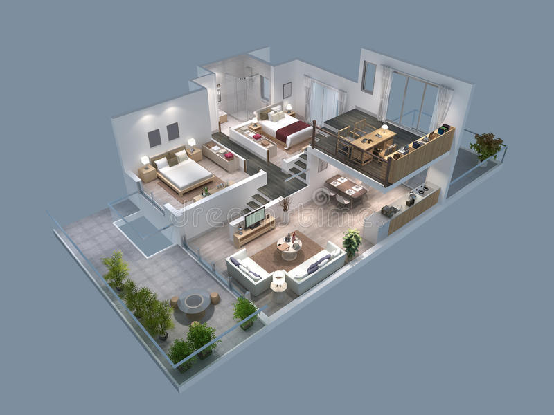 3d illustration of isometric view of a villa. 3d illustration of isometric villa plan royalty free illustration