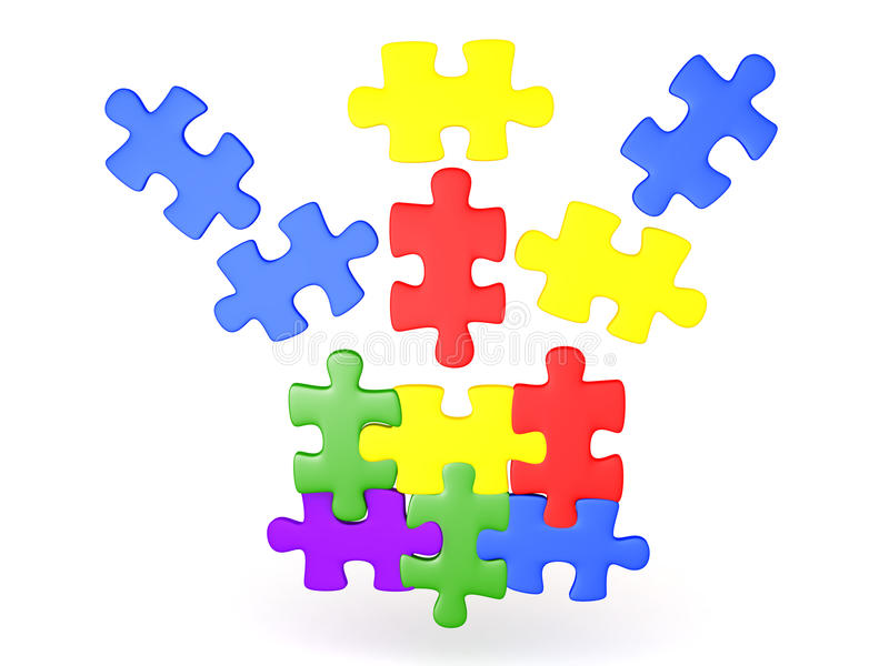 3D Illustration of jigsaw puzzle pieces falling into place royalty free illustration